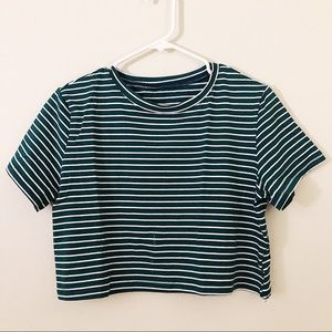 Green and White Stripes Crop Top